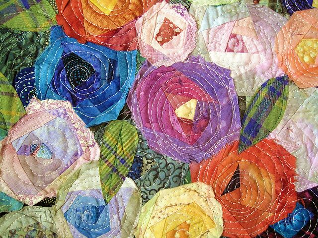 detail of little bouquet 1 - Little log cabin roses made from scraps by Cherri House Quilts