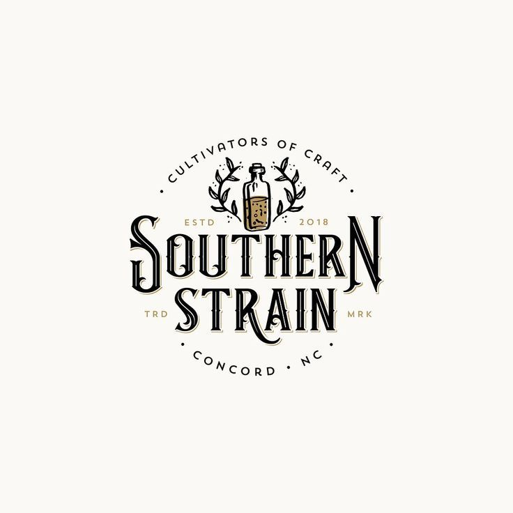 Logo For Small Town Brewery Southern Strain From Concord North Carolina Handdrawnlogo Logodesign Br Brewery Logo Design Vintage Logo Design Typography Logo