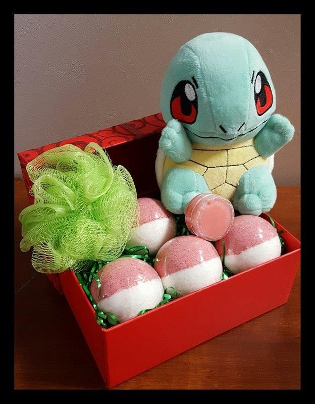 Pokemon gift box! Last time we posted these they sold out in TWO days! Each gift box contains a Squirtle Plush, 4 pokeball bath bombs, each with a RANDOM pokemon figurine inside, a bath loofah, and a