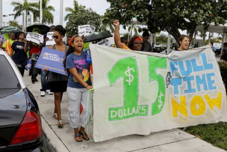 Take it to the streets! Minimum wage activists are petitioning for a living wage on a state level since federal efforts have proved disappointing.