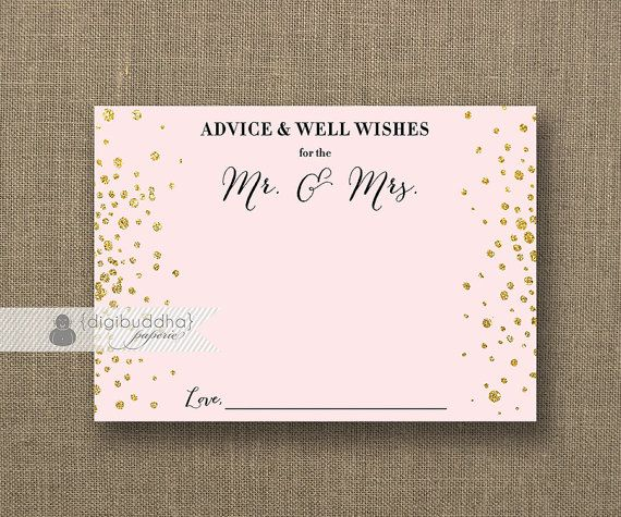 Blush Pink Amp Gold Glitter Advice Card Bride To Be INSTANT DOWNLOAD 5x7 Bridal Shower Well