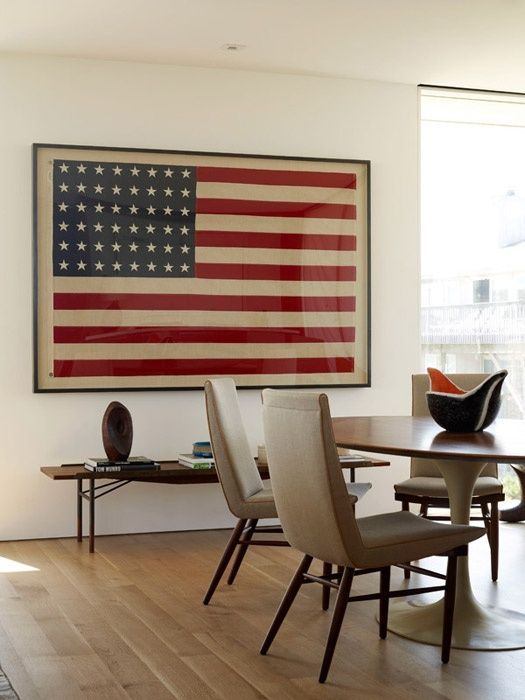 gorgeous framed American flag in contemporary dining room