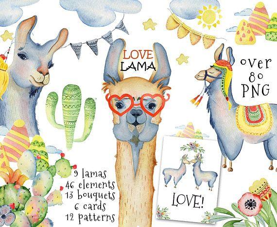 Llama watercolor clipart Alpaca clipart Watercolor #llama #watercolor #clipart #alpaca