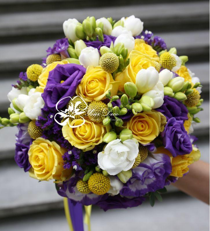 Fioletowo żółty bukiet ślubny