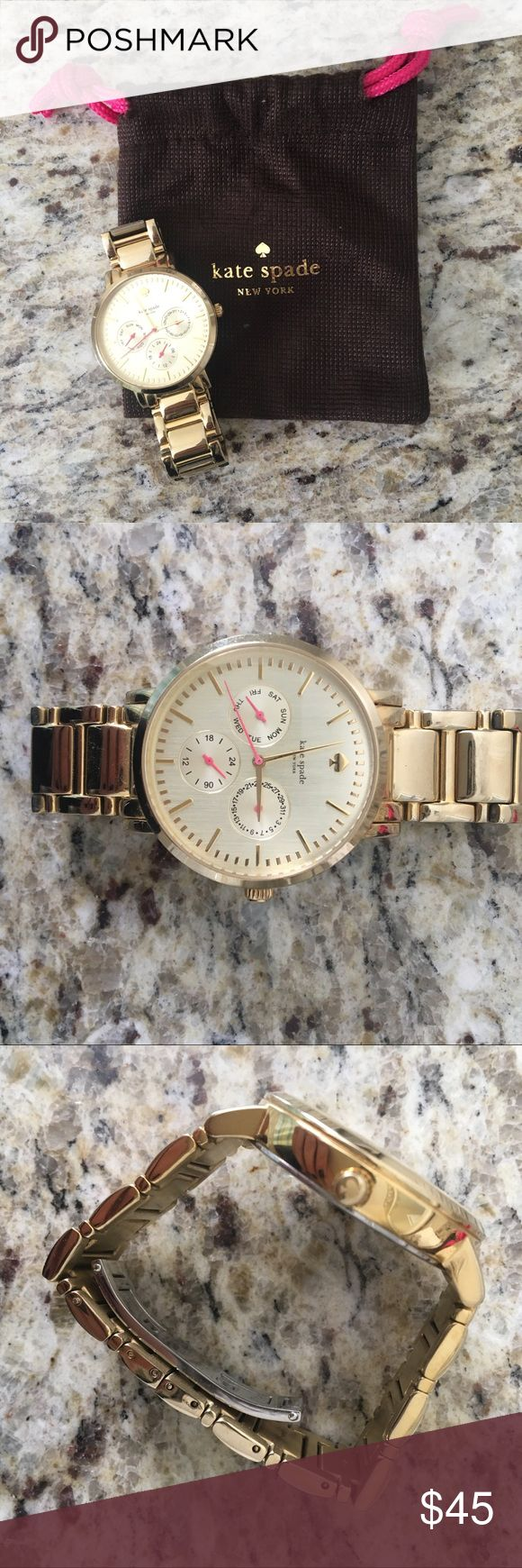 Kate Spade Gold Watch Gold Kate Spade watch, gently used! Two links removed - can send measurements / look for links if interested.  Dust bag included. kate spade Accessories Watches