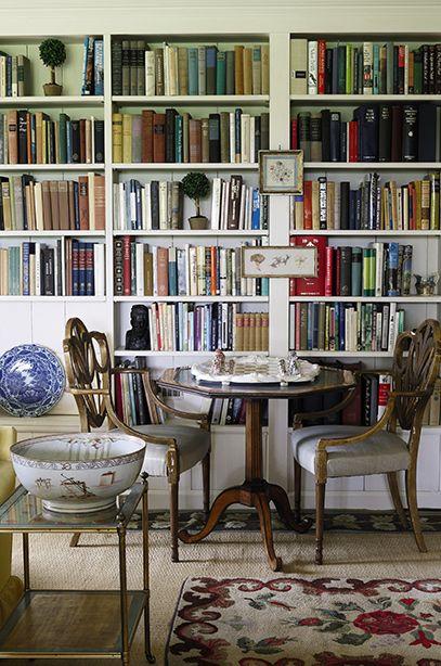 Lovely library in Virginia farmhouse of Bunny Mellon