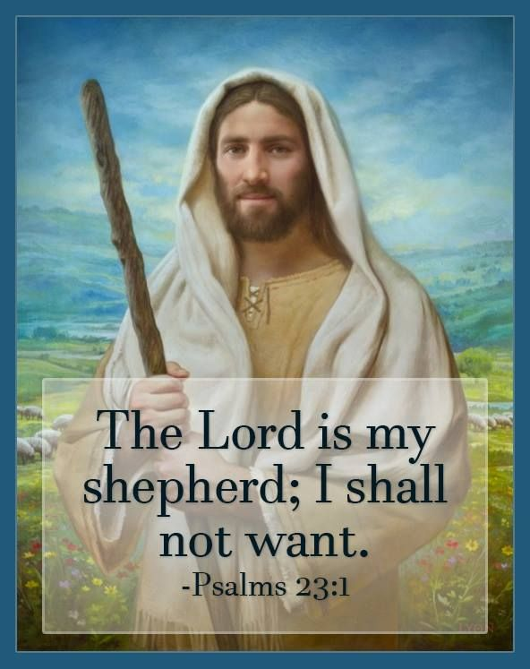 """""""The Lord is my shepherd; I shall not want. He maketh me to lie down in green pastures: he leadeth me beside the still waters. He restoreth my soul: he leadeth me in the paths of righteousness for his name's sake. Yea, though I walk through the valley of the shadow of death, I will fear no evil: for thou art with me; thy rod and thy staff they comfort me"""" (see Psalm 23:1-6). lds.org/scriptures/ot/ps/23.1-6#primary Learn more facebook.com/LordJesusChrist and #passiton. #ShareGoodness"""