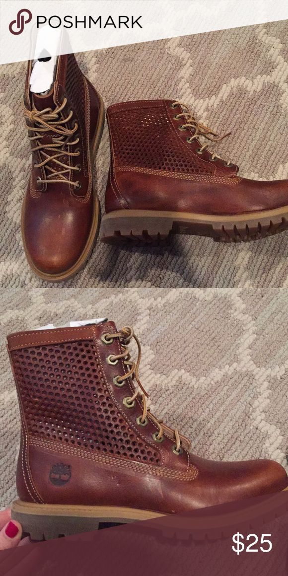 Size 7 Women's Timberland Boots 7M. Never worn, slight scuff marks from being in a closet. Perf details on sides and tongue. Beautiful rich leather. Timberland Shoes Lace Up Boots