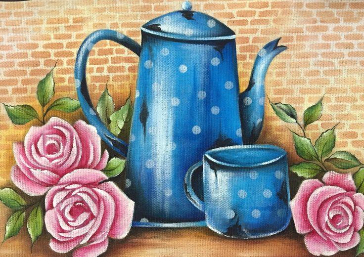 Pano de copa/prato pintado a mao | Vê Artes e Presentes | Elo7