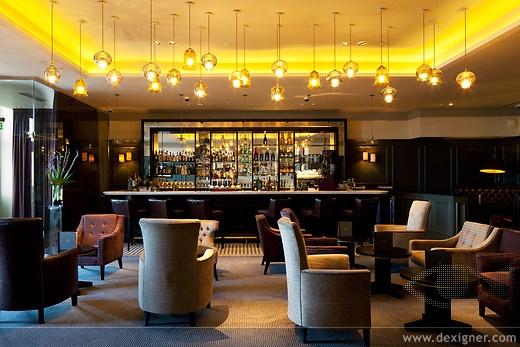 Hilton Brighton Metropole Bar by designLSM. like the ceiling/pendants...