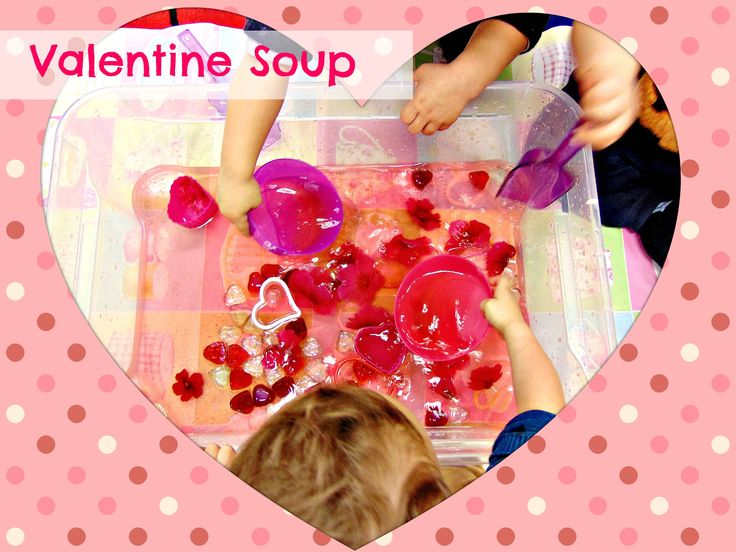 Valetnine Soup water sensory play!!! Today we made this pink Valentine for our little friends! We added glitter, glass hearts, mini scoopers, bowls and pink flowers! They had a blast!!!