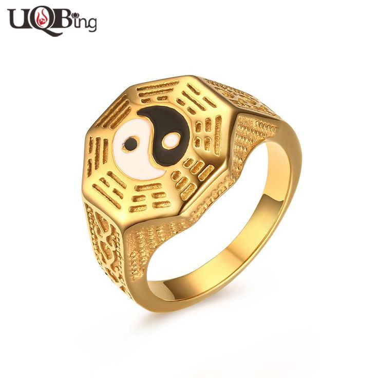 Fashion Chinese Design Jewelry Gold-color Stainless Steel Taoist Tai Chi gossip White Black Enamel Rings For Men Gifts