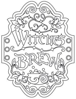 witches brew apothecary label coloring page - Halloween Coloring Page