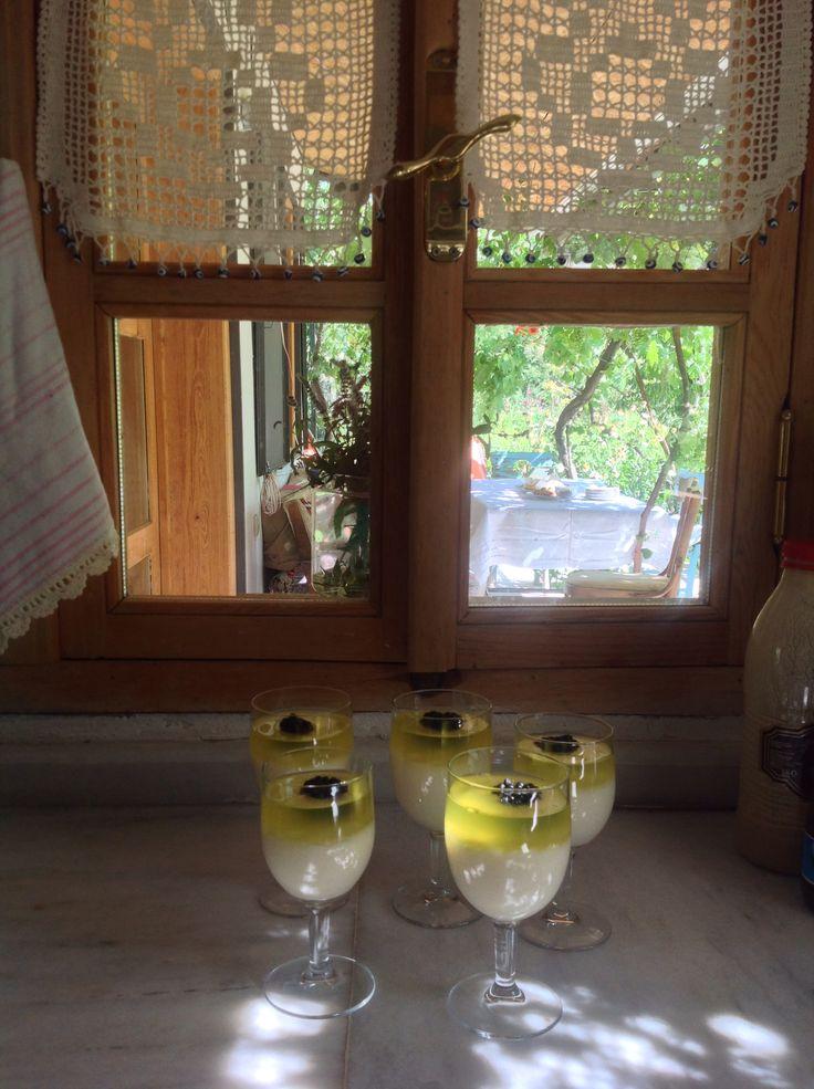 Doğumgünü kuplarım❤️ irmikli muhallebi üzerine limon sos ve bahçemizden böğürtlen ❤️