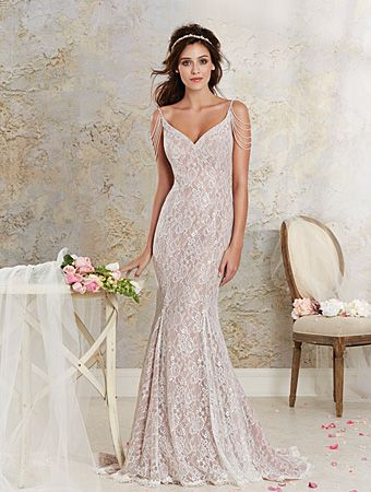 Alfred angelo style 8531 dramatic all over lace and soft for Modern vintage lace wedding dress