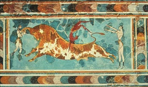 Affresco raffigurante la taurocatapsia, Palazzo di Cnosso, 1700-1400 a.C., civiltà minoica (periodo neopalaziale)