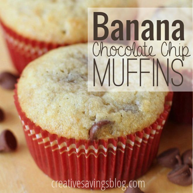 These banana chocolate chip muffins are a great way to use up overripe produce, and taste great for a quick breakfast or snack!