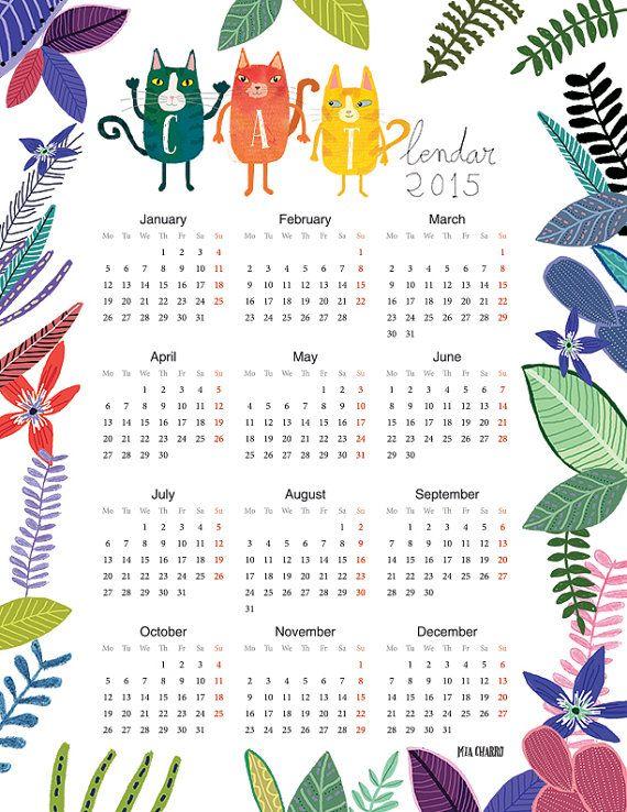 Cat 2015 Calendar printable 8x10 by MiaCharro on Etsy