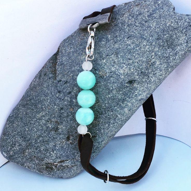 Amazonite & Leather Bracelet from NyxStudioArt