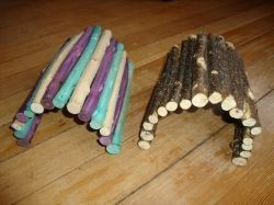 Wooden domes can be made by cutting pieces of wood to a desired length, drilling holes in them, baking them to disinfect them, and then stri...