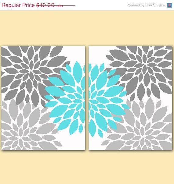 "ON SALE Flower Bursts Botanical Printable Art 2 -8"" x 10"" // Grey and Tiffany Blue // Digital Fine Art Modern Wall Art Set Prints Home Decor on Etsy, $9.00"