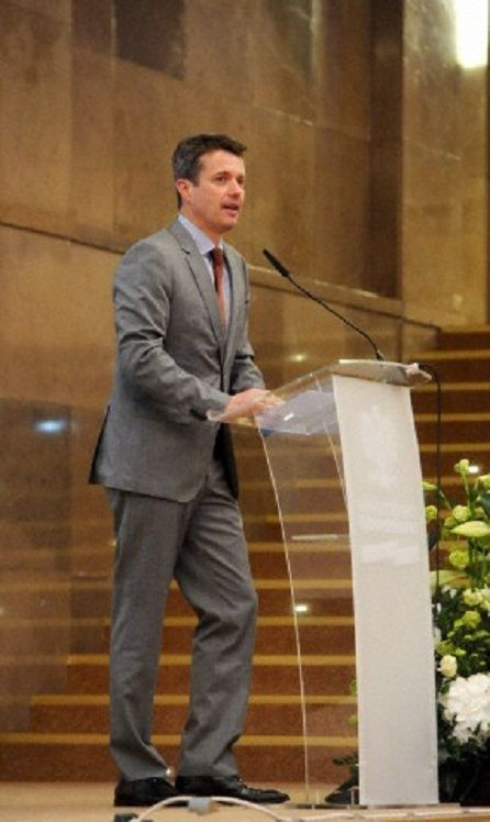Crown Prince Frederik of Denmark speaks at the debate 'Smart and efficient energy' at the Polish Ministry of Economy in Warsaw, Poland, 13 May 2014.