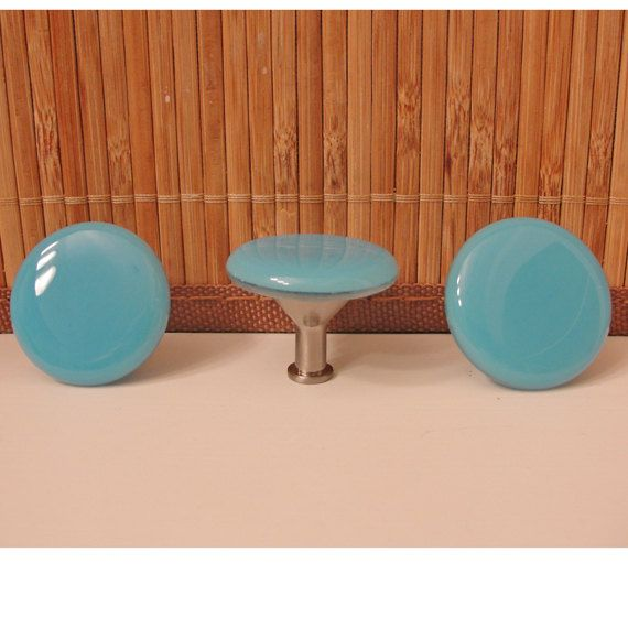 Fused Glass Knob Cabinet Knobs Pulls Light Blue Home Decor  Kitchen