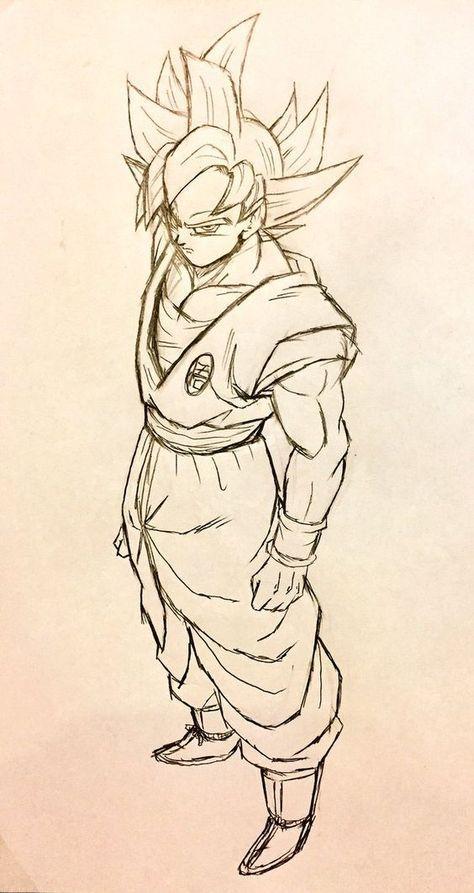 como desenhar goku instinto superior dragon ball super tattoo