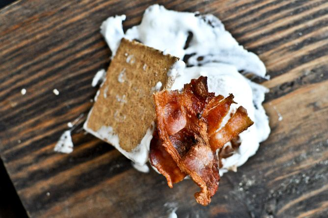 ... here: bourbon marshmallow bacon s'mores {How Sweet Eats, of course