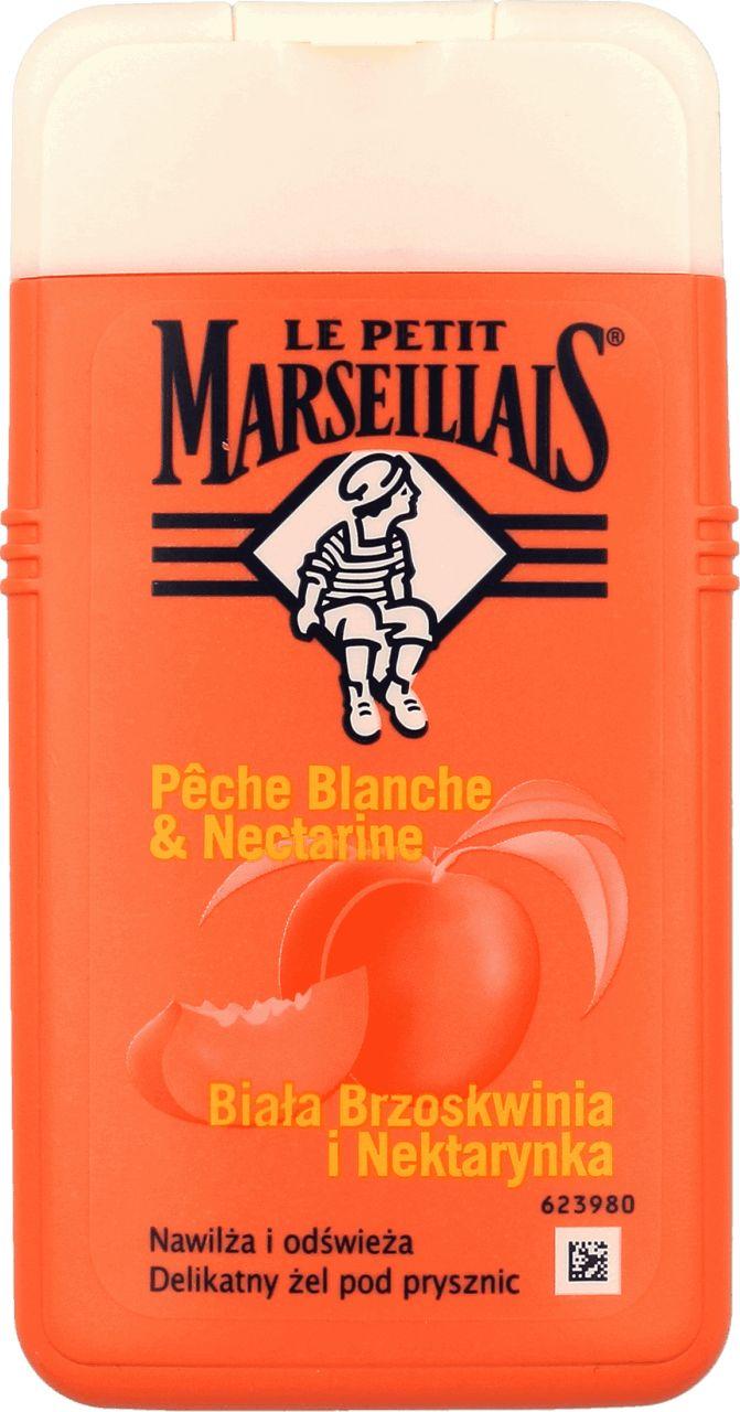 Żel pod prysznic Le Petit Marseillais `Biała brzoskwinia i nektarynka` Gel Douche Extra Doux Peche Blanche & Nectarine delikatnie oczyszcza i nawilża skórę. Lekka i łatwa do spłukania piana uwalnia piękny aromat. Jej owocowy i soczysty zapach uwiedzie całą rodzinę. Bogata w witaminy brzoskwinia słynie z właściwości kojących. Nektarynka działa tonizująco. Jak wszystkie żele pod prysznic Le Petit Marseillais zawiera naturalne składniki, ma neutralne pH dla skóry, nie testowany na ...