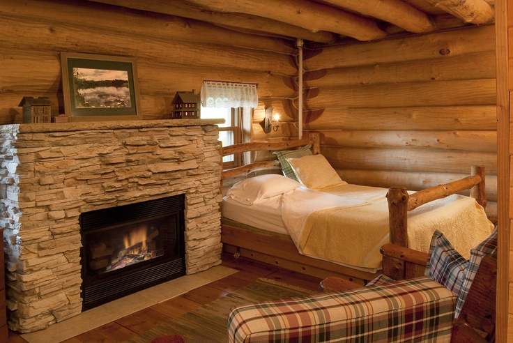Part Of The First Level Of Paul Bunyan Log Cabin Cabin Fireplace Queen Log Bed Directv On