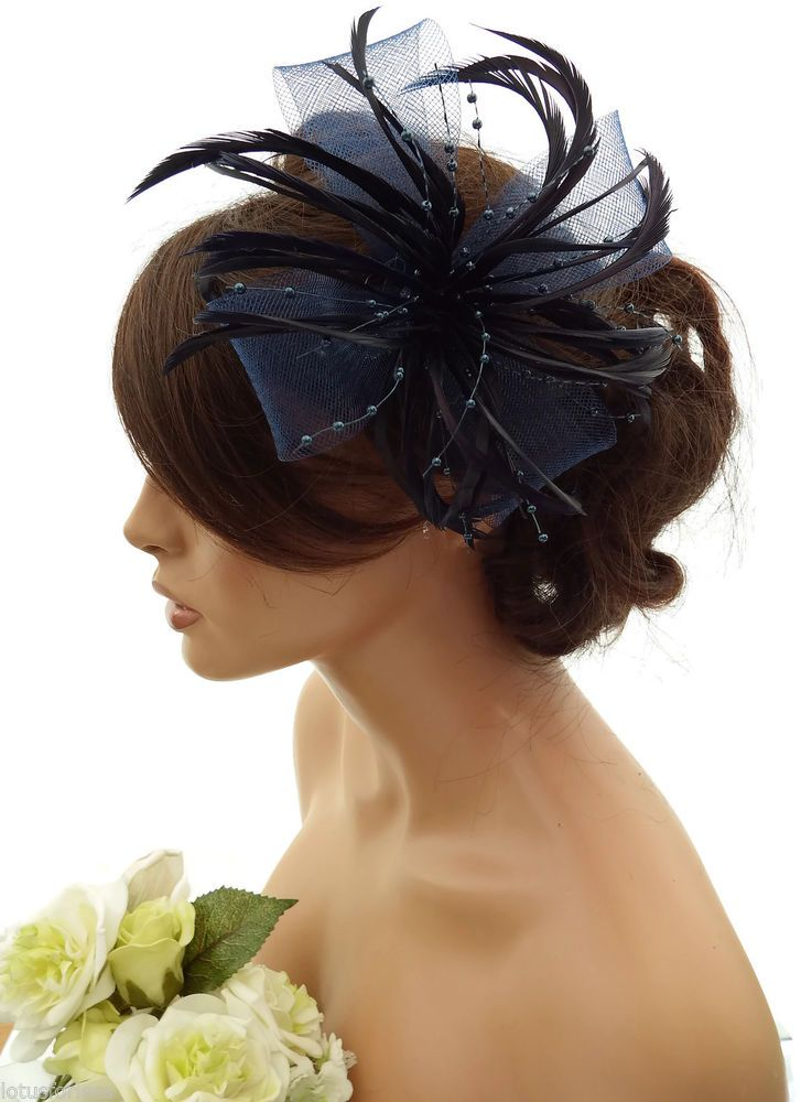 Stunning Navy Blue Feather   Net Bow with Pearl Fascinator Hair Clip  Corsage  f8dac465c4d