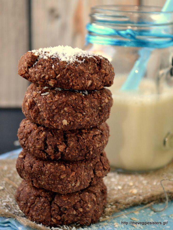 Μπισκότα με σοκολατένιο ταχίνι, βρώμη κ καρύδα - Chocolate tahini coconut oat cookies-ΜΕ ΣΙΡΟΠΙ ΑΓΑΥΗΣ