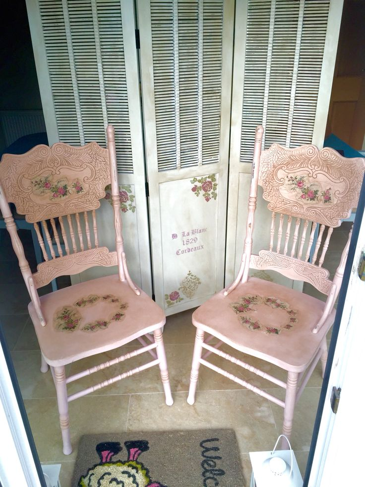 Shabby chic dusty pink distressed and dark waxed chairs with decoupage.