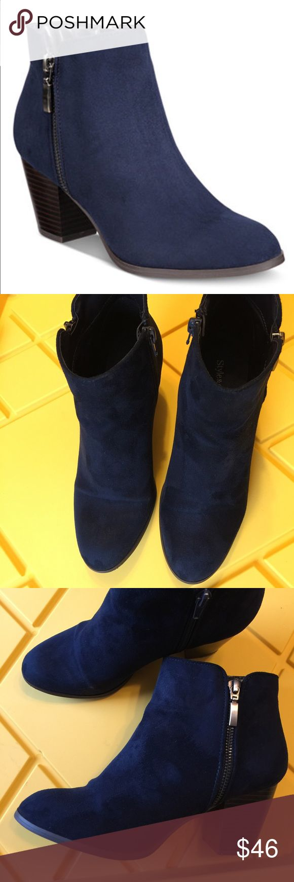 Navy blue zipper booties. Very stylish and chic short Jamila booties with metallic zipper. Used and has some mark but not noticeable once worn. Style & Co Shoes Ankle Boots & Booties