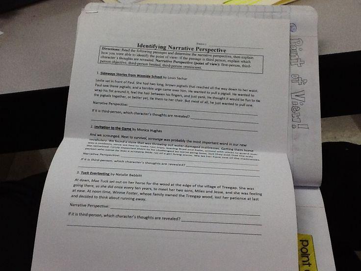 identifying narrative perspective worksheet writers interactive notebook pinterest. Black Bedroom Furniture Sets. Home Design Ideas