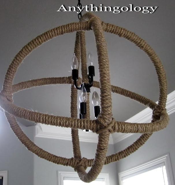 Knock off Restoration Hardware rope chandelier.: Restoration Hardware, Rope Planitarium, Chandeliers, Hula Hoop, Planitarium Chandelier, Hardware Rope, Light, Diy, Chandelier Knock