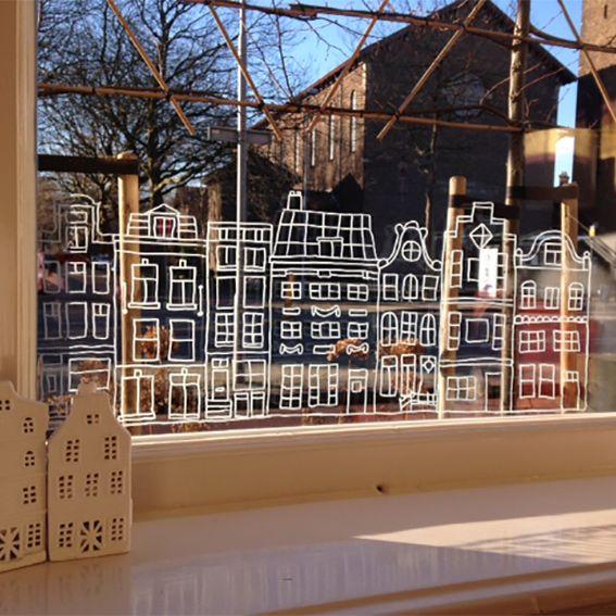 Typisch Hollands grachtenpandjes straat raamtekening, staat leuk op elk raam (of kast)!