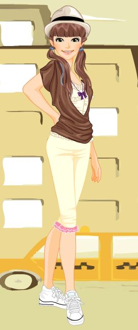 Online dress-up games - Brown and yellow casual