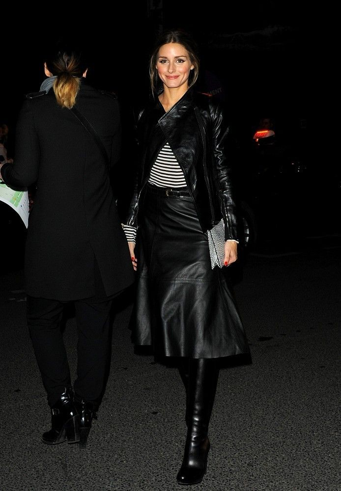 Olivia Palermo wearing Christian Louboutin Mirabelle Boots and Boda Skins Empress Jacket in Oil Black