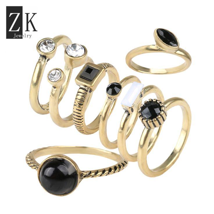 Fashion Style Above The Knuckle Ring Midi Rings Set For Women 2016 HOT Sale 8pcs/set Black Mosaic Cheap CZ Diamond-Jewelry ZIKA
