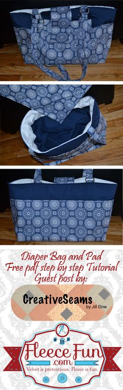 Diaper Bag & Pad - Free pdf step-by-step tutorial by Creative Seams via Fleece Fun (.com) ~ This cloth diaper bag & matching pad can be made to match your baby's room, or car seat cover!
