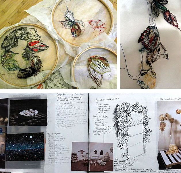 Further development of ideas in Halima's A2 Coursework project: the intricate stitching and sculpting of form.