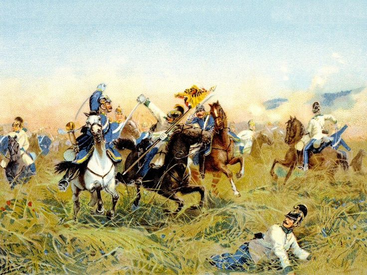 Cavalry Clash at the Battle of Nachod , by Richard Knötel via reddit [[MORE]] I found this in my history textbook, Pearson World History. It has many beautiful paintings.  http://en.wikipedia.org/wiki/Battle_of_Nachod http://homepages.paradise.net.nz/mcnelly/vb/scenarios/nachod.htm