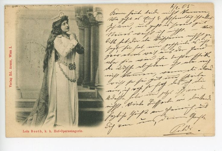 Lola Beeth BEAUTIFUL OPERA SINGER WOMAN Vienna Wien Antique AK 1905