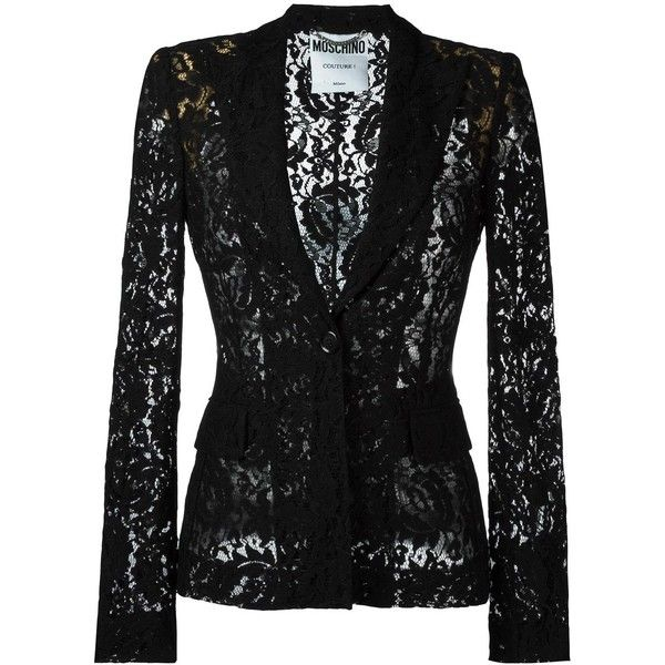 Moschino Lace Jacket (£1,100) ❤ liked on Polyvore featuring outerwear, jackets, blazers, blazer, black, tops, peak lapel blazer, long sleeve lace jacket, long sleeve blazer and moschino blazer