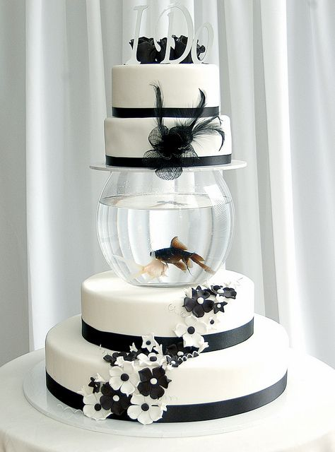 Wedding Cake Idea Have Fish Bowls Separate The Layers