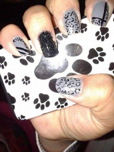 Animal #Print Mani #nails #nailart #greynblack #paws - bellashoot.com   Nails   Pinterest   Nail techniques, Dope nails and Gorgeous nails