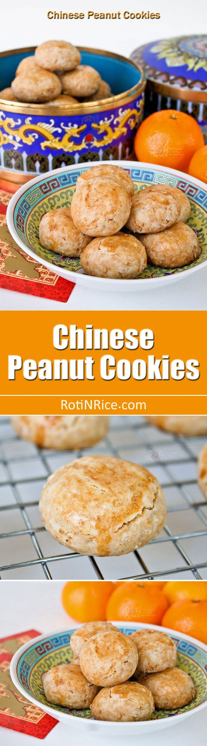 Melt-in-the-mouth gluten free Chinese Peanut Cookies using freshly roasted peanuts and rice flour. They are very easy to make and a treat for sure! | http://RotiNRice.com
