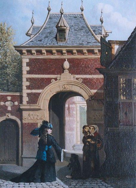 De aalmoes bij de Grenadierspoort aan het Binnenhof te Den Haag - Joseph Bles (1825-1875).